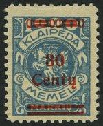 MEMELGEBIET 229 *, 1923, 30 C. Auf 1000 M. Grünlichblau, Kleiner Falzrest, üblich Gezähnt Pracht, Mi. 80.- - Memelgebiet