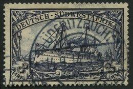 DSWA 22 O, 1900, 3 M. Violettschwarz, Ohne Wz., Stempel LÜDERITZBUCHT 14.9.14, Pracht, Gepr. Bothe, Mi. (60.-) - Kolonie: Deutsch-Südwestafrika