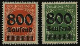 Dt. Reich VII,VIII *, Nicht Ausgegeben: 800 Tsd. Auf 300 M. Und 800 Tsd. Auf 500 M., Falzrest, 2 Prachtwerte, Mi. 80.- - Ohne Zuordnung