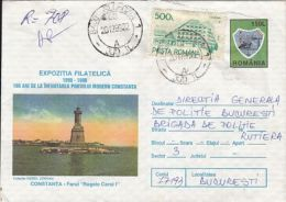 ARCHITECTURE, CONSTANTA- KING CHARLES 1ST LIGHTHOUSE, REGISTERED COVER STATIONERY, ENTIER POSTAL, 1996, ROMANIA - Phares