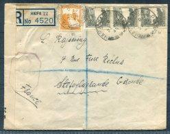 1945 (June) Palestine Haifa Nahla B.O. Registered Censor Cover - France - Palestine