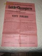 LAICHE - CHASSEPIERRE - Affiche Intéressante D'une Vente Publique De Terres, Prés Et Bois En 1954(b209) - Afiches