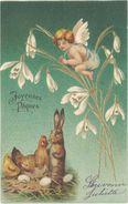 Cpa Fantaisie - Joyeuses Pâques – Angelot, Lapin, Poule ( Gaufrée )   ( FA ) - Pâques