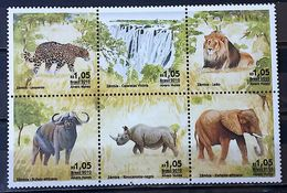 BRAZIL C 3053 Selo Fauna Leao Elefante Felino Leopardo Rinoceronte 2010 Fauna Lion Elephant Cat Feline Leopard Rhinocero - Unused Stamps
