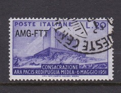 Trieste Allied Military Government S 111 1951 Consecration Of Hall Of Peace, Rome, Used - 7. Trieste