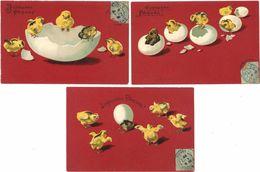 3 CPA – Joyeuses Pâques, œuf, Poussins ( Gaufrée )  ( FA ) - Pâques