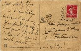 1926- C P A De Port-Saïd  Affr. 40 C Semeuse Oblit. Cad Hex. MARSEILLE A YOKOHAMA N°  9  * - Storia Postale