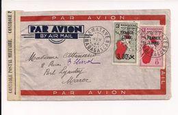 Lettre De Madagascar Pour Le Maroc 1944 Avec Contrôle Postal Militaire - Storia Postale