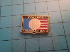 Pin116b Pin's Pins / COLLEGE AMERICAN GOLF  , Belle Qualité ;  Marquage Au Dos : --- - Golf