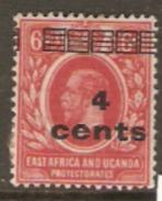 K.U.T. East Africa And Uganda 1919 SG 64 4cents Overprint  Mounted Mint - Kenya, Uganda & Tanganyika