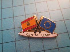Pin116b Pin's Pins / DRAPEAU EUROPEEN ET ESPAGNOL OPEN UAP VOILE   , Belle Qualité ;  Marquage Au Dos : --- - Sailing, Yachting