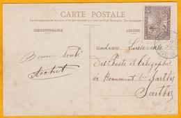 1907 - CP De Diego Suarez, Madagascar Vers Beaumont Sur Sarthe - Affrt 5 F Palmiers - Storia Postale