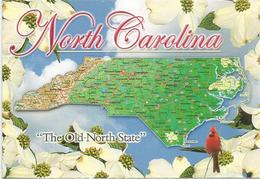 North-Carolina Map & Fun Facts, Postcard Addressed To ANDORRA, With Arrival Postmark - Etats-Unis