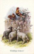 CPA Allemande Fröhliche Ostern ! N°1336 - Coq & Moutons Pour Joyeuses Pâques - Riulbeich - Pâques