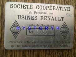 Renault Voiture Rare Carte De Sociétaire Alu Société Coopérative Du Personnel Des Usines Numérotée 9.5x6cm Auto Ancienne - Cars
