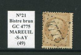 FRANCE- Y&T N°21b)- Bistre Brun- GC 4775 (MAREUUIL-S-AY 49) - Marcophilie (Timbres Détachés)