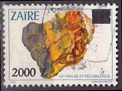Timbre Oblitéré N° 1051(Michel) Zaïre 1991 - Minéraux Uranium Surchargé, Voir Description - Zaïre