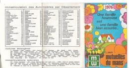 Calendriers - Petit Format 1976 - Mutuelles Du Mans - Liste Des Départements - Voir Recto, Verso - - Calendriers
