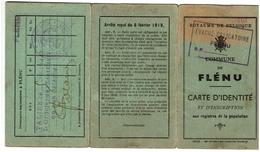 Commune De FLENU - Carte D'Identité Arthur BOUILLIEZ - Ouvrier Mineur - Evacué Obligatoire 1944 - 2 Scans - Historical Documents