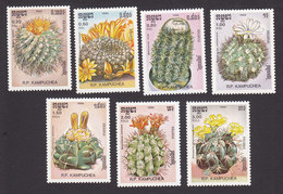 Cambodia, Scott #721-727, Mint Hinged, Cacti, Issued 1986 - Cambodge