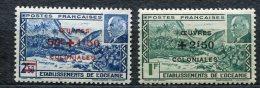 3492   OCEANIE   N° 169/70**  1944   Timbres De 1941 (138/39) Surchargés OEUVRES  COLONIALES  SUPERBE - Oceania (1892-1958)