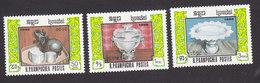 Cambodia, Scott #742-744, Mint Hinged, Silverware, Issued 1986 - Cambodge