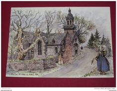M626 - Eglise De STE MARIE DU MENEZ HOM, Aquarelle Originale De Robert Lepine  Plomodiern - Plomodiern