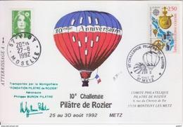 Aérostation, 10° Challenge Pilâtre De Rozier, 27 Août 92, Transporté Par Montgolfière, Cachet D'huissier - France