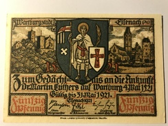 Allemagne Notgeld Wartburgstadt 50 Pfennig - [ 3] 1918-1933 : République De Weimar