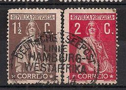 """PORTUGAL Yv. 209 + 210 """"DEUTSCHE SEEPOST Linie Hamburg - Westafrika 2. 5 .14 """" - 1910-... République"""