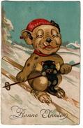 Carte Illustrateur - BONZO - Chien Humanisé Faisant Du Ski Et Fumant Une Cigarette Avec Un Petit Chat Noir - 2 Scans - Illustrators & Photographers