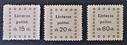 EMISSION DE KAUNAS 1919 - NEUFS SG - YT 12/13 + 17 - PETITS OVALES - Lithuania