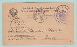 AUT10  Galicie  PRZEMYSL 25.1.93 Sur CP De Franchise =texte En Italien. KuK Garnisons Gericht In Przemysl + Linz 27.1.93 - Briefe U. Dokumente