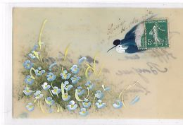 Carte  Celluloid  -  Oiseau  Et  Petits  Fleurs  Bleus - Postcards