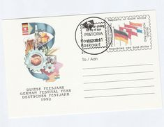 1992 SOUTH AFRICA STATIONERY Illus GERMAN WINE BEER Germany Festival FIRST DAY Rsa Stamp Postal Card Cover Drink Alcohol - Wines & Alcohols