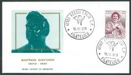 1973 ITALIA FDC RE.RU. CARUSO NO TIMBRO ARRIVO - KI15-3 - 6. 1946-.. Republic