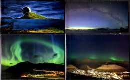 Solar Eclipse Of 2016 As Seen At Foroyar Islands - Set Of 4 Mint Postcards - Aurora Borealis / Solar Eclipse - S.descr - Faroe Islands