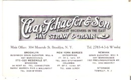 """Advertising Card 5.5"""" X 3.3"""" 14 Cm X 8.3 Cm Charles Schaefer & Son, Hay Straw & Grain Largest Receivers In The East - Advertising"""