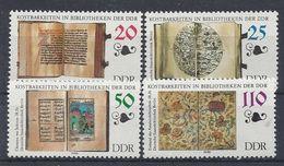 Germany (DDR) 1990 Kostbarkeiten In Bibliotheken (**) Mi.3340-3343 - [6] Democratic Republic