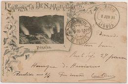 Postal Portugal - Açores - Lembrança De S. Miguel - Furnas (Ed. Papelaria Travassos) Stamp 10 Reis D. Carlos I - CPA - Açores
