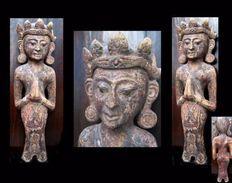 Ancienne Statuaire De Temple Hindouïste / Old Newar Wooden Statue Of Hindu Temple - Art Asiatique