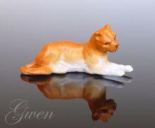 Figurine Ancienne Allemande Sujet Lion Animal Miniature Biscuit Bibelot Kister 1890 Porcelaine - Ceramics & Pottery