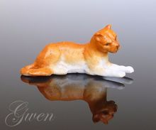 Figurine Ancienne Allemande Sujet Lion Animal Miniature Biscuit Bibelot Kister 1890 Porcelaine - Non Classés