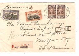 Belgisch Congo Belge  Lettre Avion Recommandée C.Port Francqui 1931 .USA 661 - Belgisch-Kongo