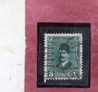 EGYPT EGITTO 1927 1937 KING FUAD RE ROI 3m DEEP GREEN USATO USED OBLITERE' - Egypt