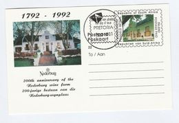 1992 SOUTH AFRICA STATIONERY Illus NEDERBURG WINE FARM Rsa FIRST DAY Stamp Postal Card Cover Alcohol Drink - Wines & Alcohols
