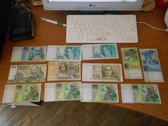 GERMNAY  -  AUSTRIA   -  SLOVAKIA  - SWEDEN   -  MARKS - SHILLINGS - CROWNS  12   BILLETS  LOT - 50 Deutsche Mark
