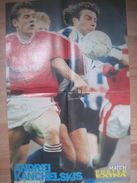 Manchester United Player Andrei Kanchelskis` Original Autograph On A Poster From MATCH Magazine (1991) - Authographs