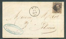 N°14 - Médaillon 10 Centimes Brun, Obl. à 8 Barres De HUY Sur Lettre Du 11-8-1863 (expéditeur TB Illustration Intérieure - 1863-1864 Medallions (13/16)