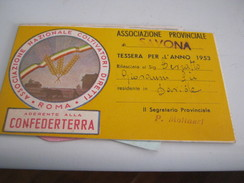 TESSERA ASSOCIAZIONE PROVINCIALE DI SAVONA 1953 - Documents Historiques